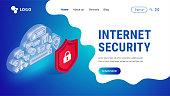Isometric internet security landing