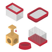 Isometric isolated set of dog items elements. Pet icons feeding equipment. Healthy nutrition and carriage.