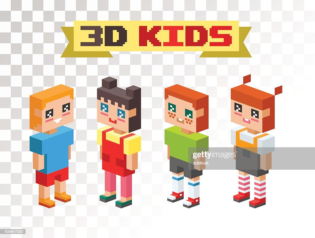 Isometric kids couples together icons