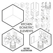 Isometric kitchen interior constructor. Vector set of isometric Furniture elements of home interior isolated on white background. Flat 3d design template