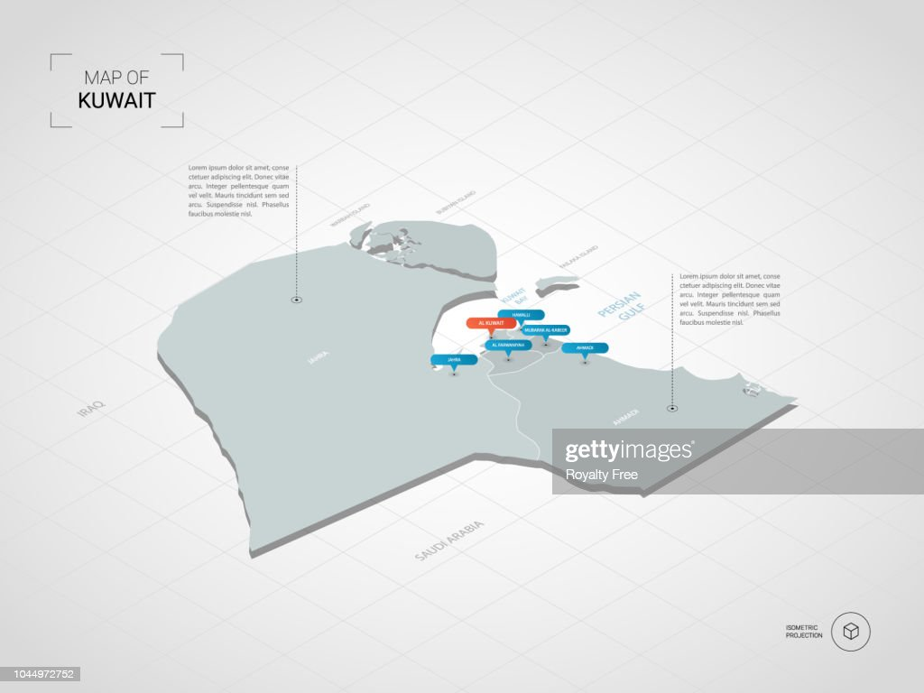 Isometric Kuwait map with city names and administrative divisions.