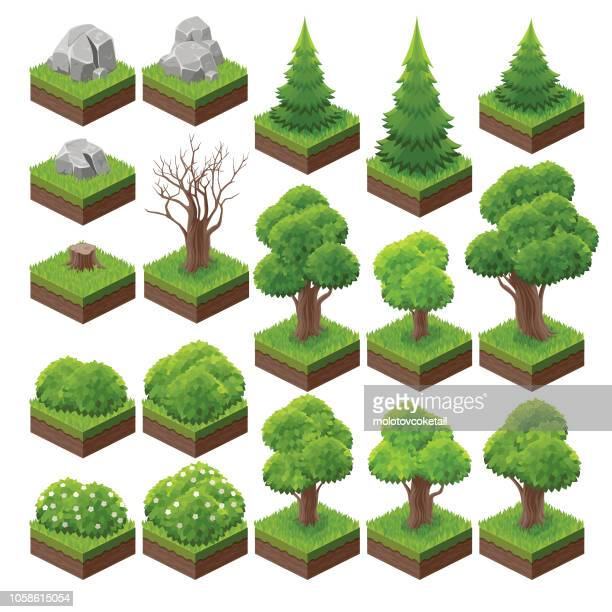 isometric landscape game asset 2 - tree stock illustrations, clip art, cartoons, & icons
