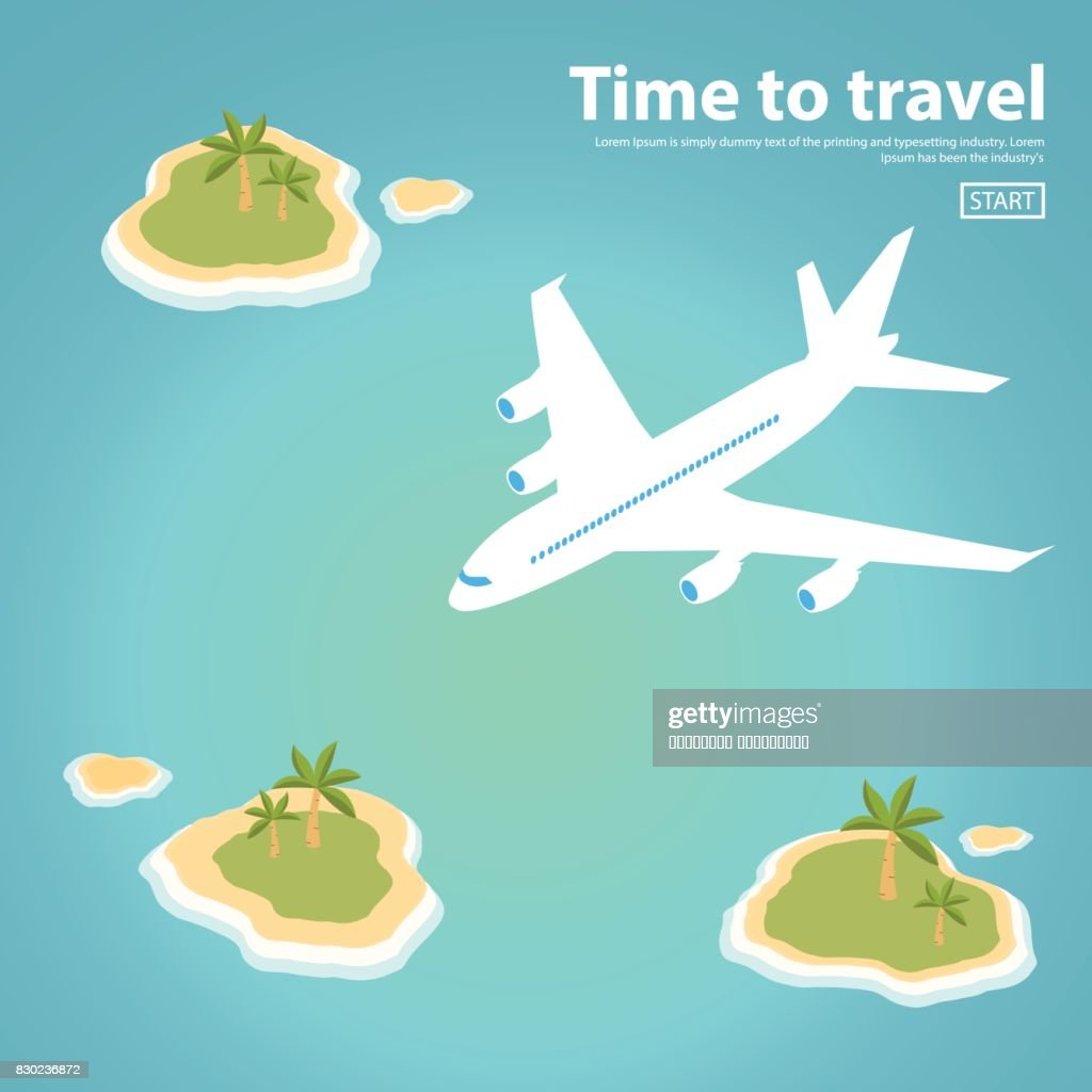 isometric Landscape illustration the island text inscription jet plane sea.Travel,tourism vector illustration in a flat style.