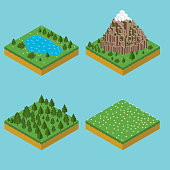Isometric landscape seamles. Pre assembly isometric