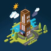 Isometric landscape with the building