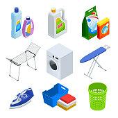 Isometric laundry service elements set