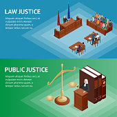 Isometric Law and Justice concept. Law theme, mallet of the judge, scales of justice, books, statue of justice vector illustration.