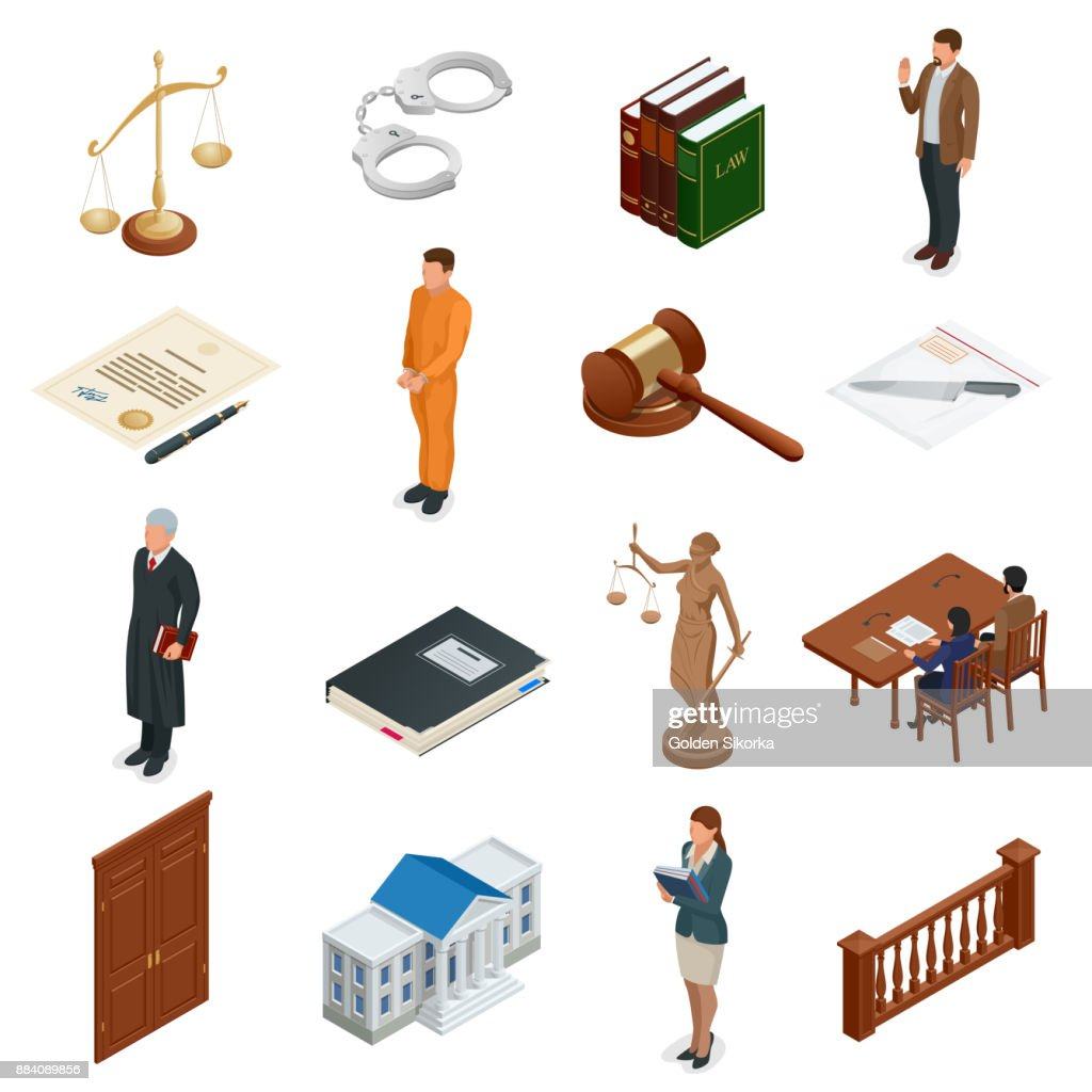 Isometric Law And Justice Symbols Of Legal Regulations Juridical