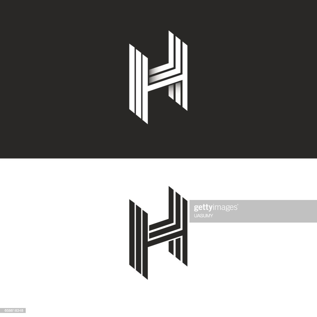 Isometric letter H perspective hipster monogram, simple linear typography black and white emblem, 3D art symbol