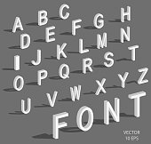 Isometric letters with falling shadow. White isometric 3d font, Three-dimensional alphabet. Low poly 3d characters. Vector illustration.