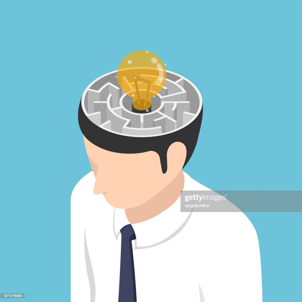 Isometric light Bulb of idea is in the center of maze inside businessman head : stock vector