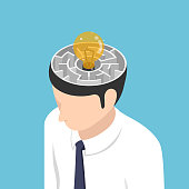 Isometric light Bulb of idea is in the center of maze inside businessman head
