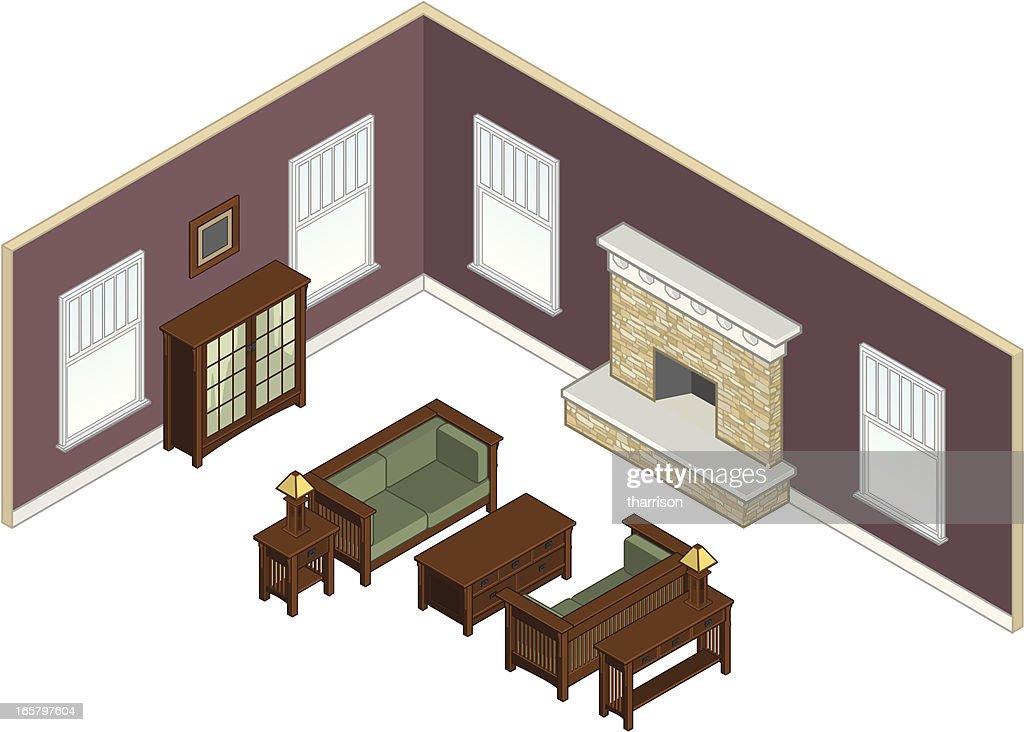Isometric Living Room : Vector Art