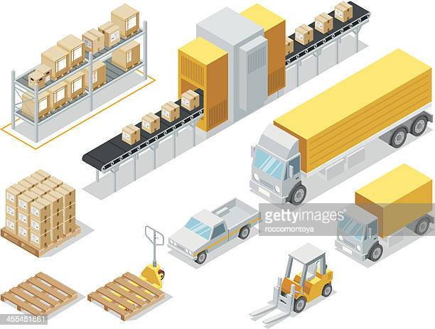isometric logistic delivery - shipping stock illustrations