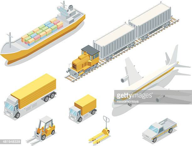 isometric logistic - land vehicle stock illustrations