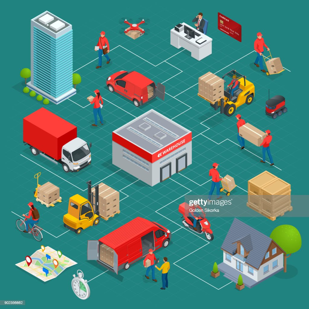 Isometric Logistics and Delivery Infographics. Delivery home and office. City logistics. Warehouse, truck, forklift, courier, drone and delivery man. Vector illustration