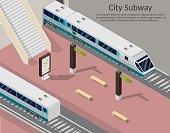 Isometric low poly Subway station platform set with train, underground and inside the railway, metro wagon.