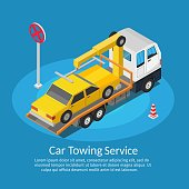 Isometric low poly Tow truck city road assistance service evacuator of Online car help design vector background illustration set
