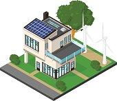 Isometric Luxury Modern Eco House