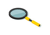 Isometric magnifying glass isolated vector