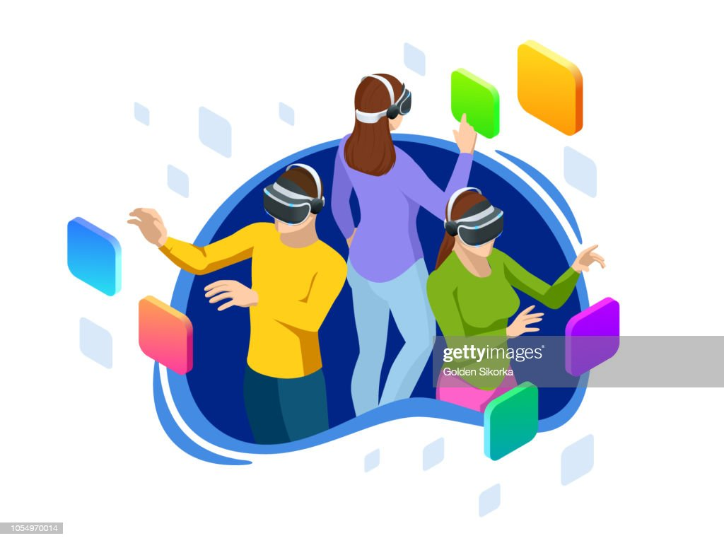 Isometric man and woman using a virtual reality glasses. Futuristic gadgets, virtual reality headset concept for web banner flat design of promotion