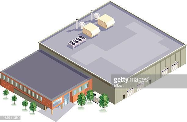 isometric manufacturing plant - warehouse stock illustrations