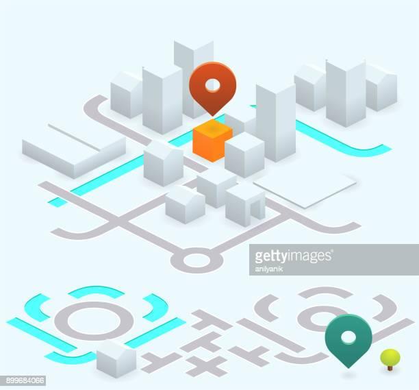 ilustrações, clipart, desenhos animados e ícones de kit de mapa isométrica - 26,56 graus - mapa de rua