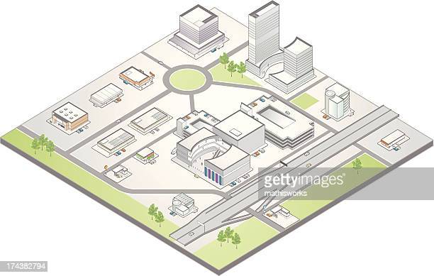 isometric map of a suburban commercial district - mathisworks architecture stock illustrations