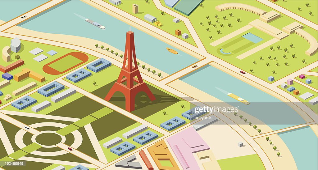 Isometric map of Eiffel Tower and environs