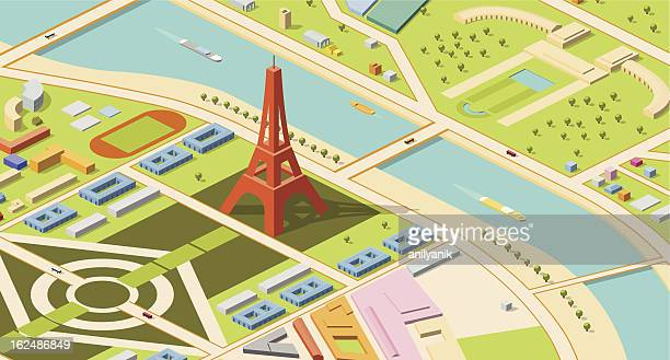 isometric map of eiffel tower and environs - tours france stock illustrations, clip art, cartoons, & icons
