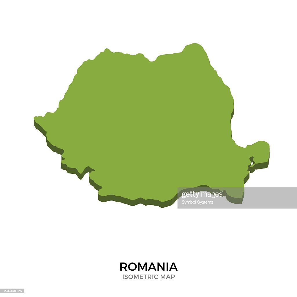 Isometric map of Romania detailed vector illustration