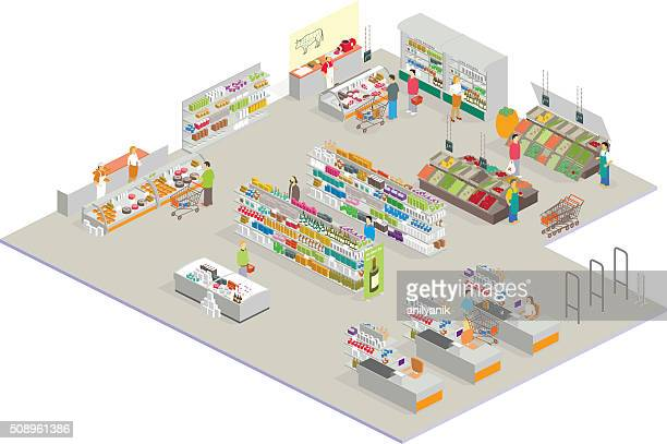 isometric market - food state stock illustrations, clip art, cartoons, & icons