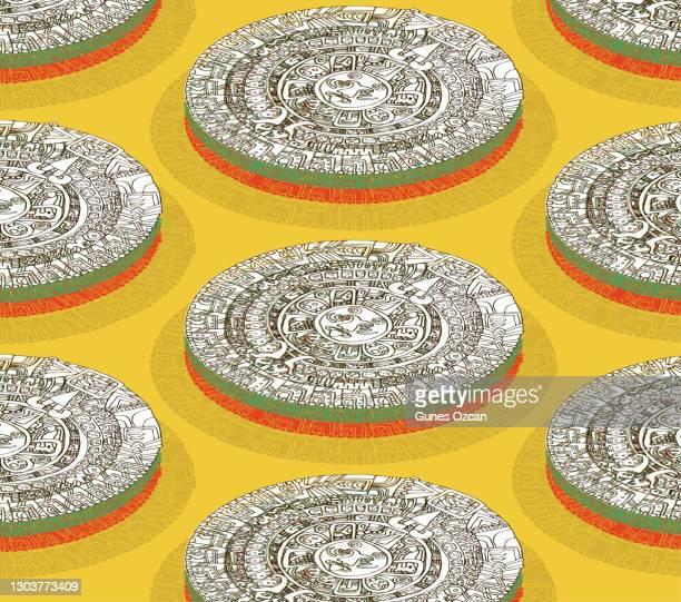 ilustraciones, imágenes clip art, dibujos animados e iconos de stock de patrón de calendario maya isométrico - calendario maya dibujado a mano - dibujo de línea - calendario maya