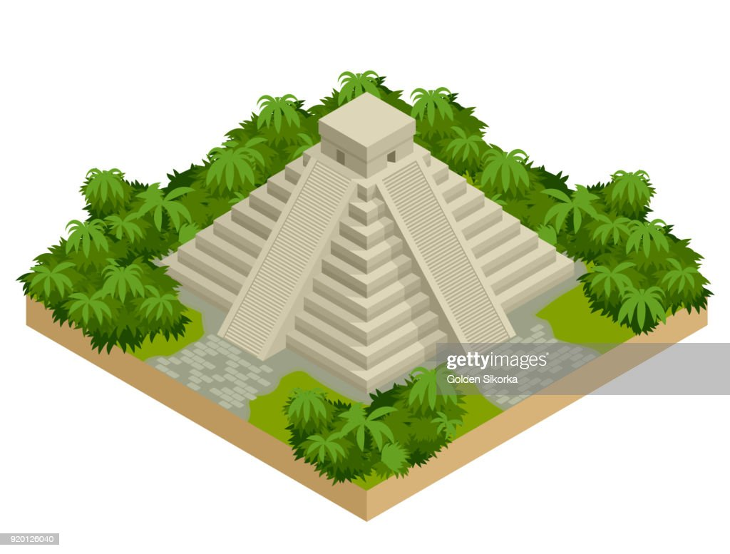 Isometric Mayan pyramid isolated on white. Vector travel banner. The teotihuacan pyramids in Mexico, North America. Ancient stepped pyramids.