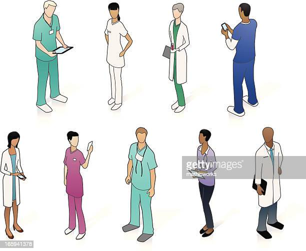 isometric medical people - operating gown stock illustrations, clip art, cartoons, & icons