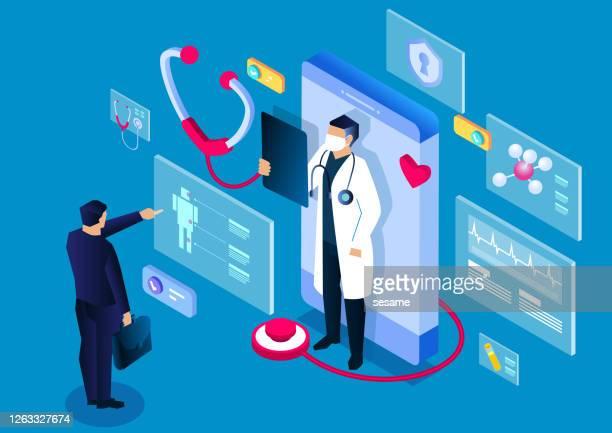 illustrazioni stock, clip art, cartoni animati e icone di tendenza di medicale isometrico, applicazione di consulenza e diagnosi medica online per smartphone, moderna tecnologia medica digitale - tecnologia medica