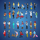 Isometric Men Character Set Different Professions