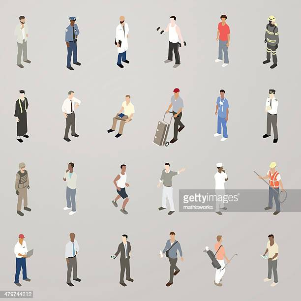 isometric men flat icons - mathisworks business stock illustrations