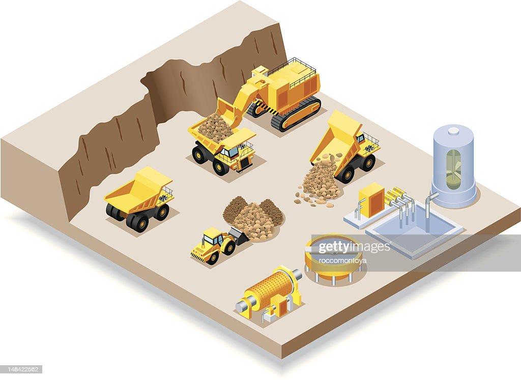 Isometric, Mining set : stock illustration