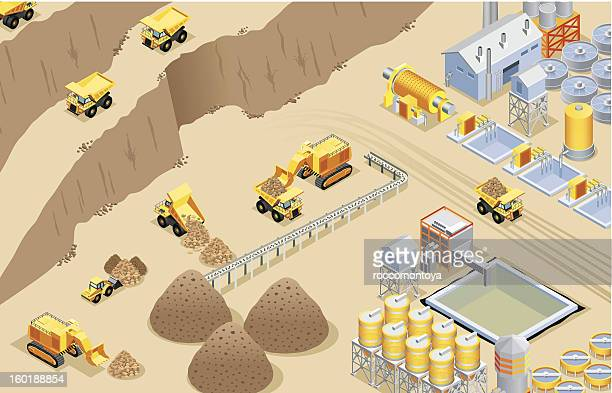 isometric mining - gravel stock illustrations