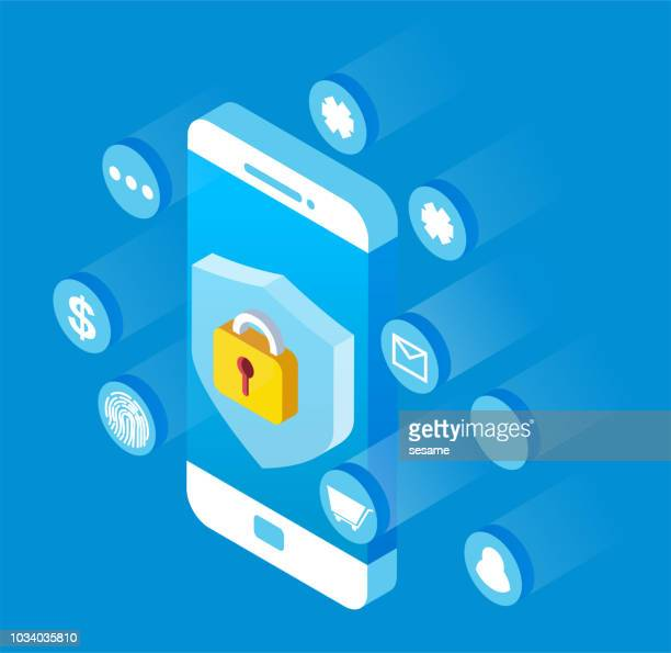 isometric mobile phone network security - lock stock illustrations