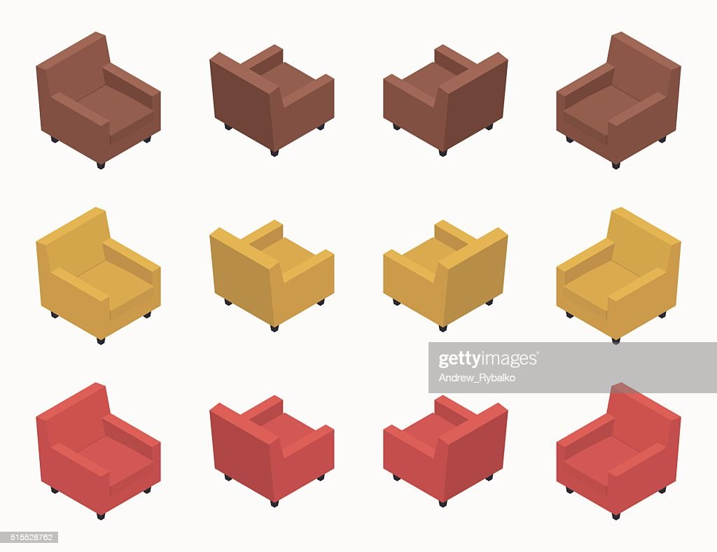 Isometric modern colored armchairs