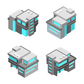Isometric modern house. Isolated vector illustration of building.