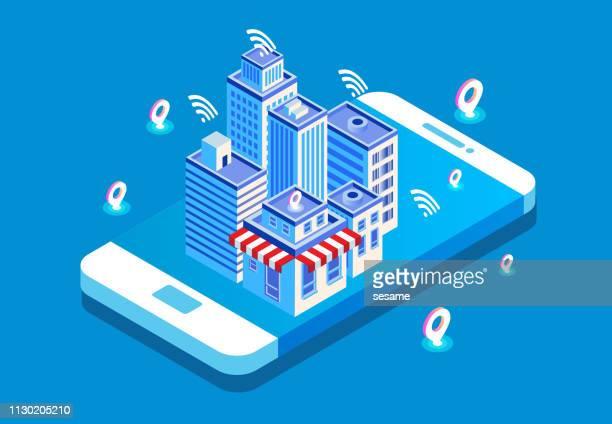 illustrations, cliparts, dessins animés et icônes de vie isométrique de la technologie moderne de la ville - ville futuriste
