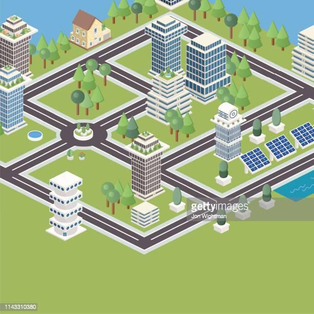 illustrazioni stock, clip art, cartoni animati e icone di tendenza di piastrelle modulari isometriche della città - città intelligente
