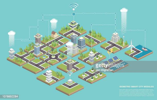 illustrazioni stock, clip art, cartoni animati e icone di tendenza di isometric modular smart city tiles - città