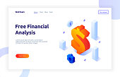 Isometric money investment and growth gradient style design concept, analysis and finance modern web banner illustration