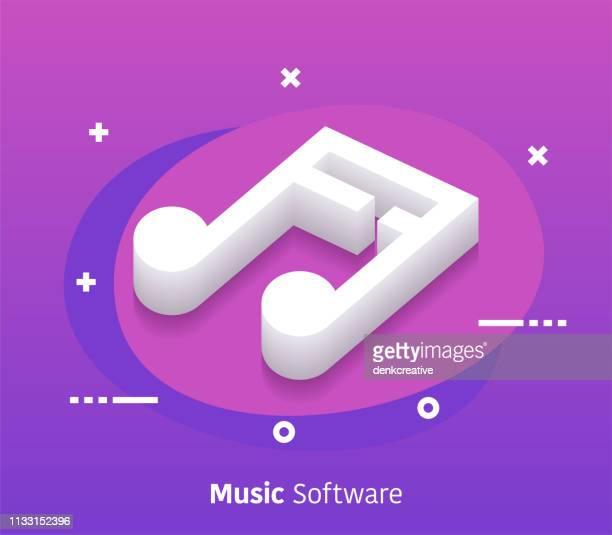Isométrique musique logiciel Vector Web Banner et Icon Design