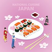 Isometric National Cuisine Japan with Sushi