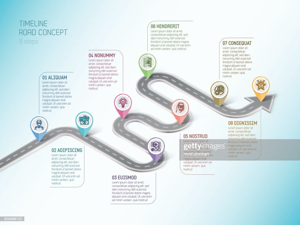 Isometric navigation map infographic 8 steps timeline concept. W